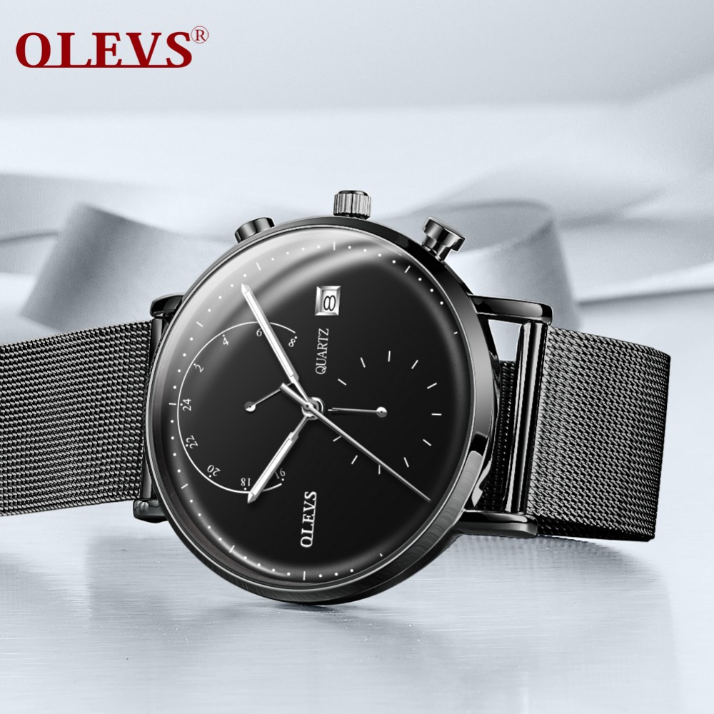 OLEVS Chronograph Black New Watches Mens Quartz Watch Milanese steel strap Slim Men Wrist Watch Student Sports Wristwatch 2018 syoss