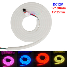 5m/lot DC12V 12*20m/15*25mm full color Arcuate neon tube 60leds/m GS1903 IC Flexible 5050 RGB pixel  neonLED strip light