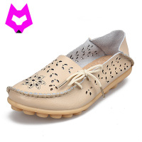 Plus Size 2017 Ballet Summer Cut Out Women Genuine Leather Shoes Woman Flat Flexible Round Toe