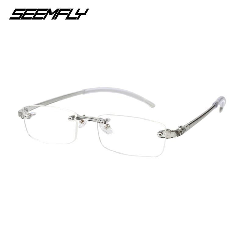 SEEMFLY Frameless Myopia Glasses Women Shortsighted Eyeglasses Men Rimless Nearsighted Eyewear-1.0 -1.5 -2.0 -2.5 -3.0 -3.5 -4.0
