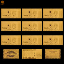 Lot de 10 pièces de collection de billets en papier, en monnaie européenne, de la lettonie, 500 Lats, billets en or, faux argent Souvenir, cadeaux, vente en gros