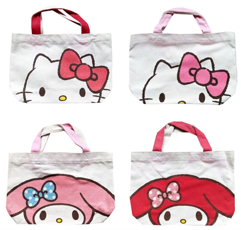 9fc5835a5c Detail Feedback Questions about Cute Hello Kitty My Melody Canvas Tote Bag  Handbag Lunch Bag for Kids School Women Girls Cartoon Picnic Food Bag  Shopping ...