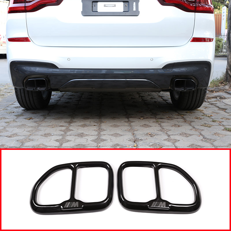 2pcs Glossy Black 304 Stainless Steel For BMW X3 G01 2018 Car styling Exhaust Tail Pipe
