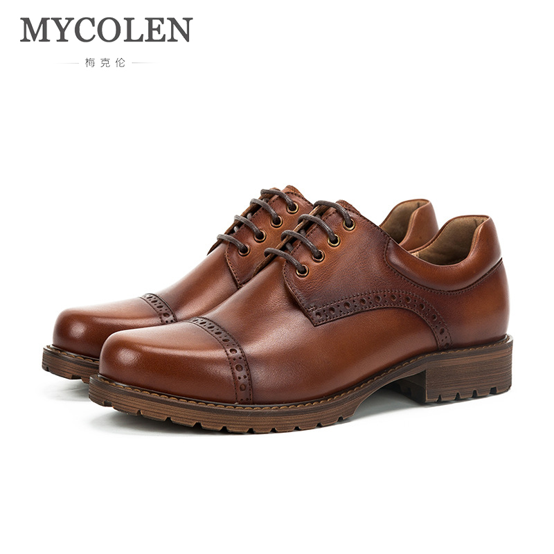 MYCOLEN Luxury Brand Fashion Men Dress Shoes Men Leather Brogue Mens Flats Shoes Casual British Style Business Comfort Shoes qffaz new 2018 luxury leather brogue mens flats shoes casual british style men oxfords fashion brand dress shoes for men lace up