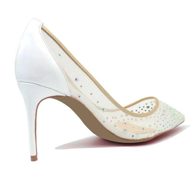 Scarpe di marca pelle di Pecora Bling Sexy Delle Donne scarpe A Punta Bianco Tacco Alto Maglia Del Partito Da Sposa Scarpe A Spillo Tacchi Sottili - 2