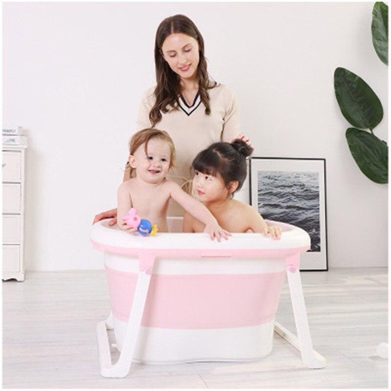 Tube de bain pliant multifonctionnel pour enfants Tube de douche de bain en plastique gonflable Portable pour bébé