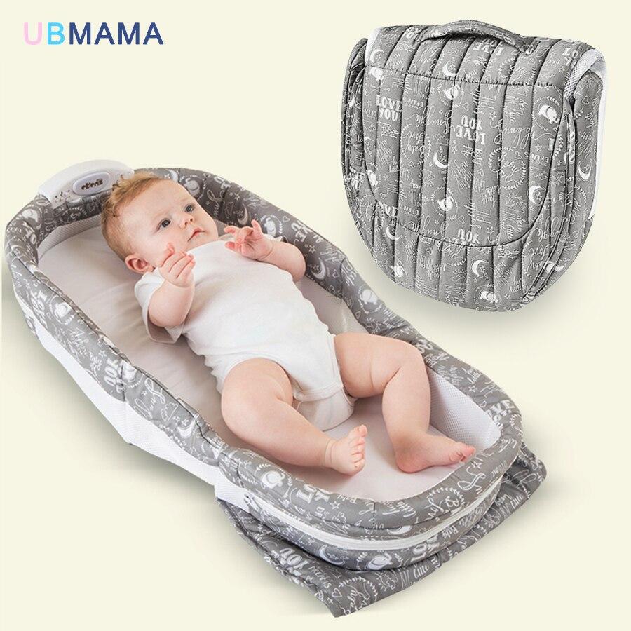 Avere la musica luce di notte portatile pieghevole del bambino letto mummia confezioni ragazzo gril lettino da viaggio del bambino neonati culla 90*40*14 cm di vendita calda