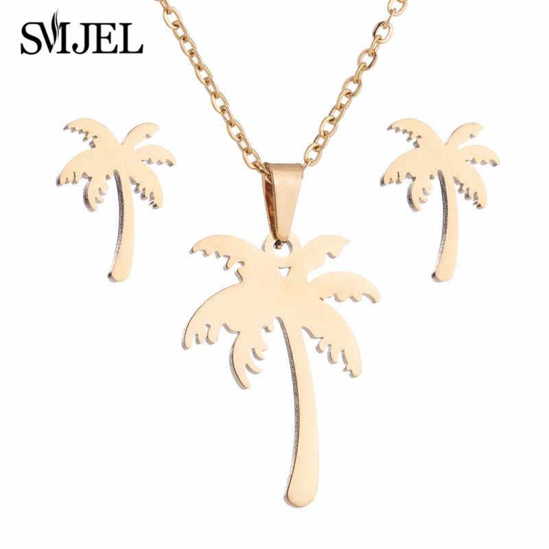 SMJEL acier inoxydable arbre colliers pour femmes bohème noix de coco palmier déclaration collier Hawaii bijoux en gros