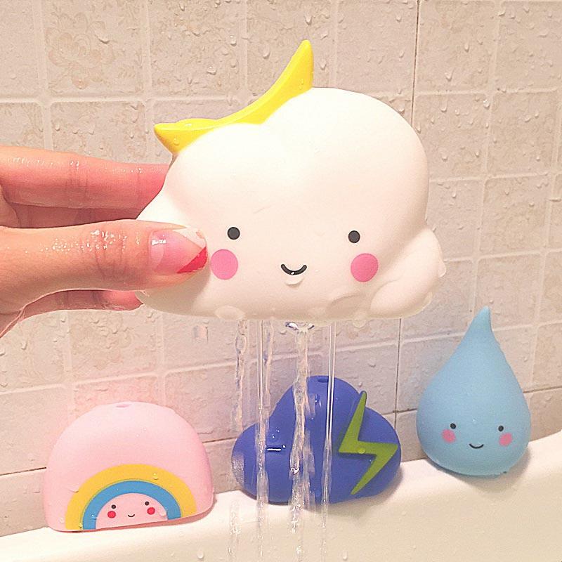 Lindo meteorológicos juguete nube Arco Iris relámpago goteo Set PVC baño del bebé agua pulverizada herramientas educación infantil juguete iluminación