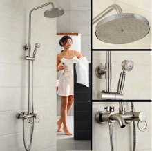 Foyi brand high-end Antique Brass Bathroom Rain Shower Set Faucet Wall Mixer Tap with Handheld Shower Head foyi brand antique rain shower faucets set with hand shower brass wall mounted shower mixer for bathroom