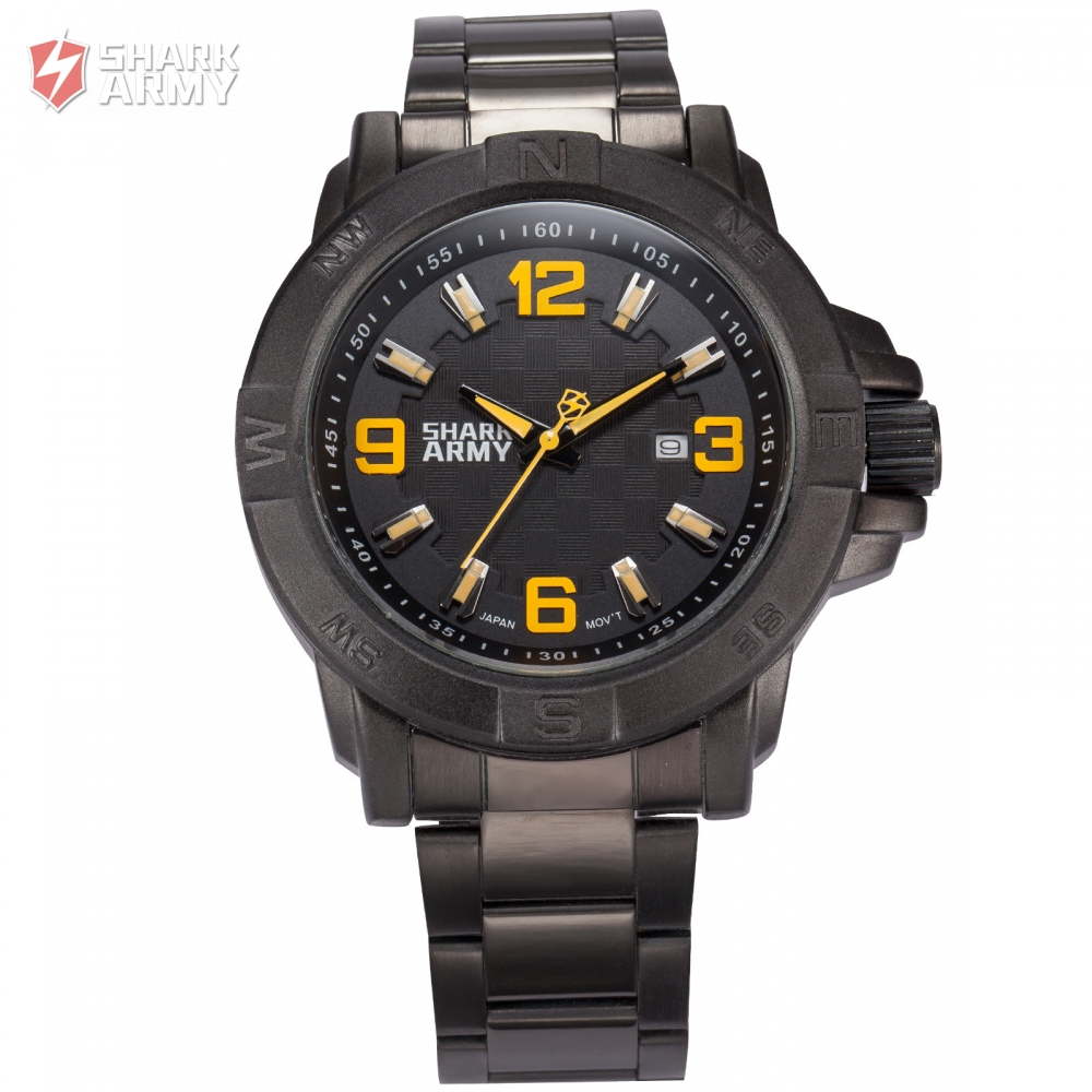 Shark Army Auto Date Calendar Display Black Stainless Steel Band Yellow Analog Quartz Military Watch Men Saat Erkekler/SAW148 men s military style fabric band analog quartz wrist watch black 1 x 377