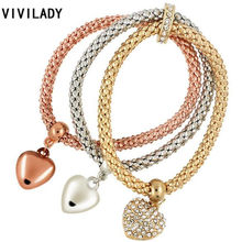 VIVILADY Fashion 3pcs Rhinestone Heart Pendant Beads Elastic Charms Cuff Bracelets Pulseras Bijoux Accessory Birthday Femme Gift(China)