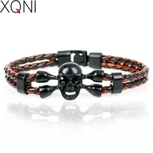 Hot Sale! New Fashion Pop Skull Men's Bracelets High Quality Leather Bracelets Popular Boys Knighthood Casual Charm Bracelets.
