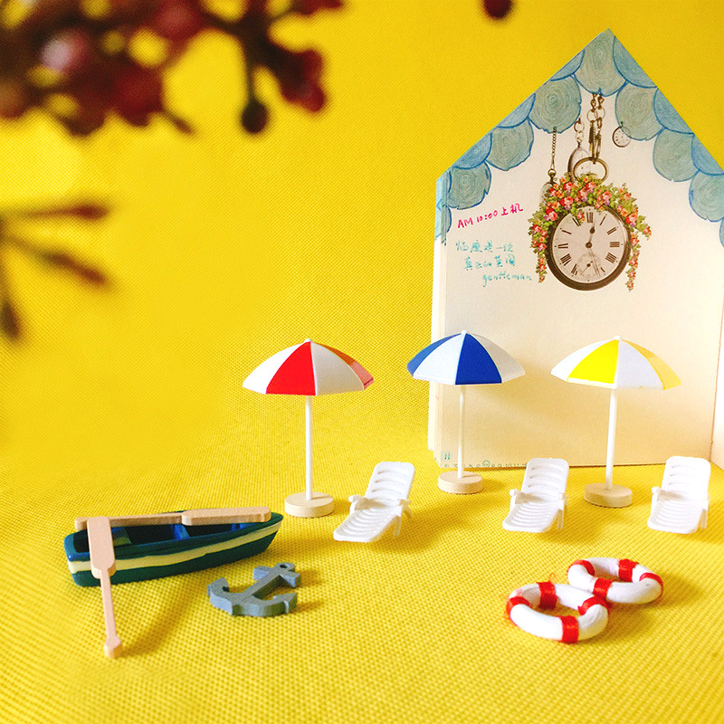 1Pcs Miniature Bonsai Craft Terrarium Figurine Landscape Sun Unbrella Decor