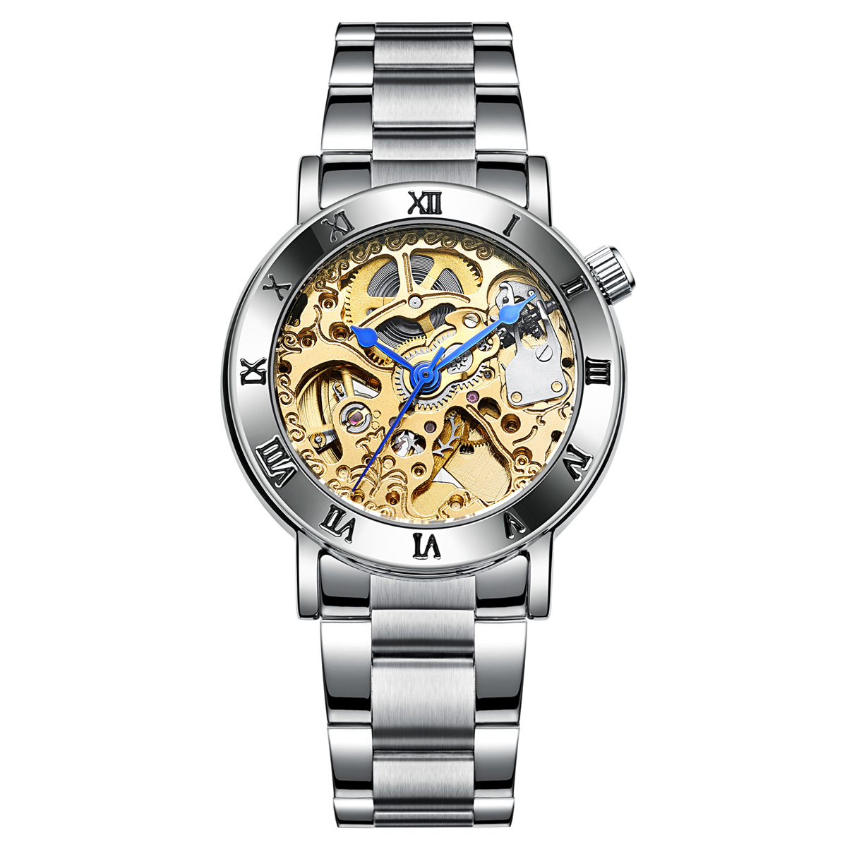 IK COLOURING  Roman Number Scale Hollow Dial Automatic Self-Wind Movement Life Waterproof Women Watch Fashion Style k colouring women ladies automatic self wind watch hollow skeleton mechanical wristwatch for gift box