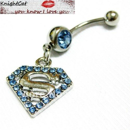 Navel Belly Button Ring Piercing Body Jewelry Hot Sexy Fashion Charm Superman Logo CZ Stone 316Steel Free Shipping Xtmas 10pcs