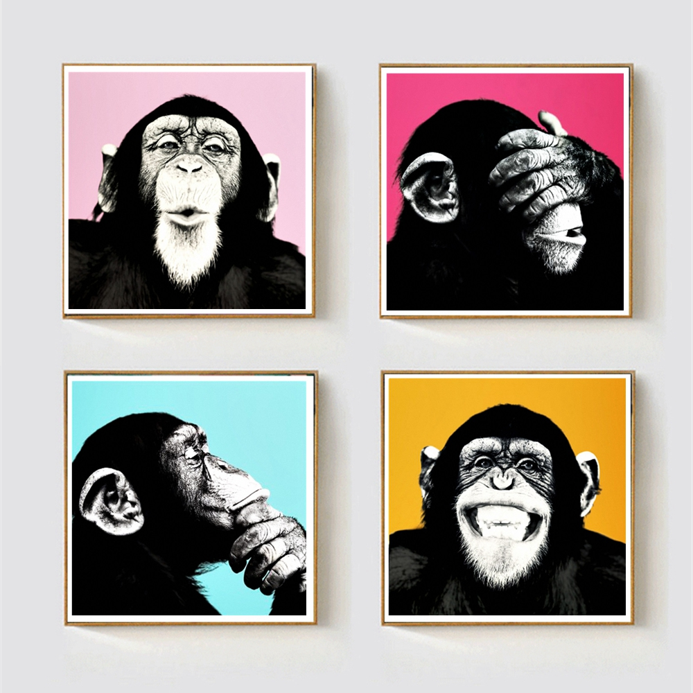 Global Monkey Picture Wall Art Home Decor Animals Painting for Living Room Wall Decor Multicolor Poster Art Print Drop shipping