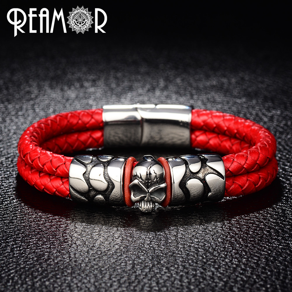 REAMOR Trendy Male Cuff Bracelets Crack Skull Head Double Leather Rope Bangle With 316l  ...