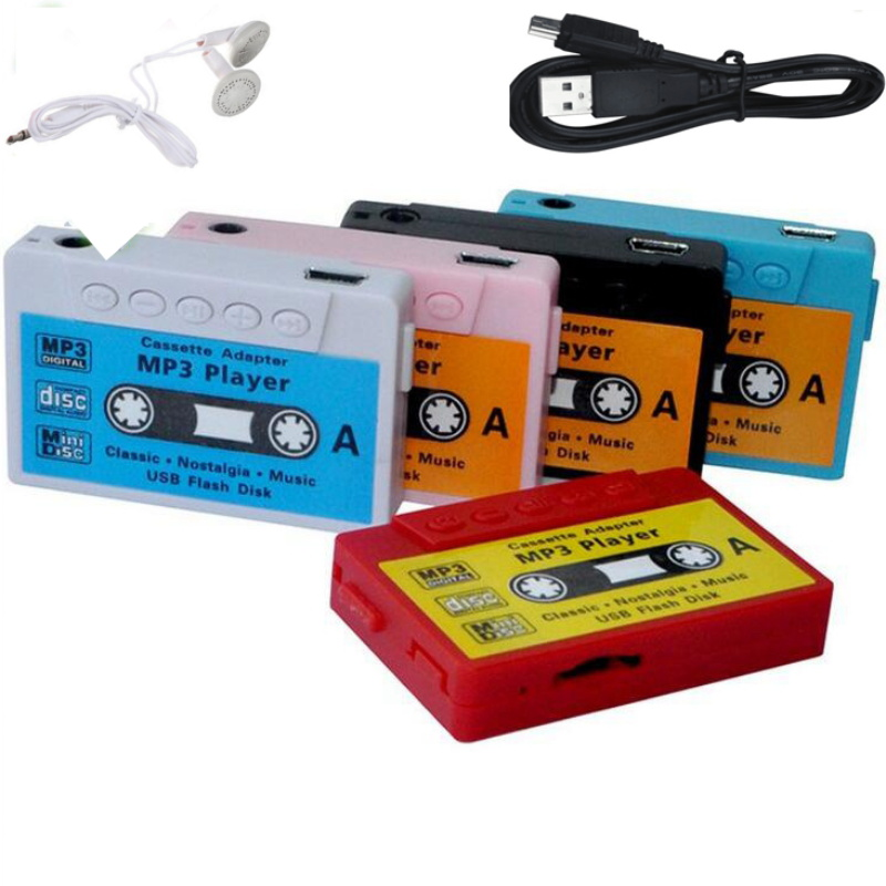 Retro tape  Colorful Mp3 Player Mini Mp3 Music Player Micro TF Card Slot USB MP3 Sport Player USB Port With Earphone Headphone