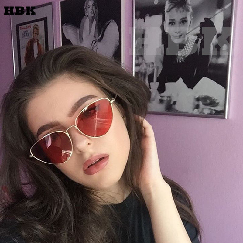 2f4189ac10a8f HBK Top Quality small red cat eye sunglasses women yellow black tinted  Color Lens vintage eyewear metal sun glasses 2017 female-in Sunglasses from  Apparel ...
