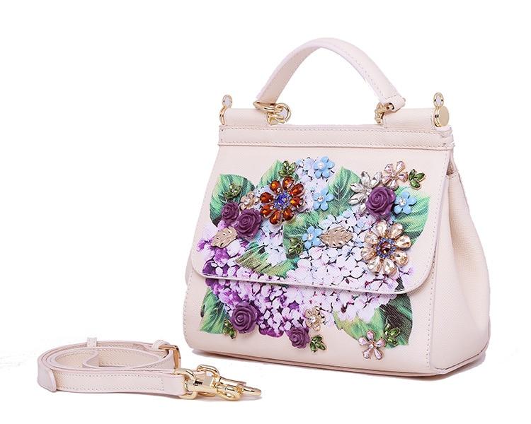 Luxury Designer Inspired Women Handbag Real Leather Embellishments Hydrangea Printed Mini Leather Shoulder Bag (8)