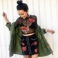 2017 Новые моды для женщин black mesh see through лето сексуальная роза вышивка с длинным рукавом футболки tee camisetas mujer урожай топы