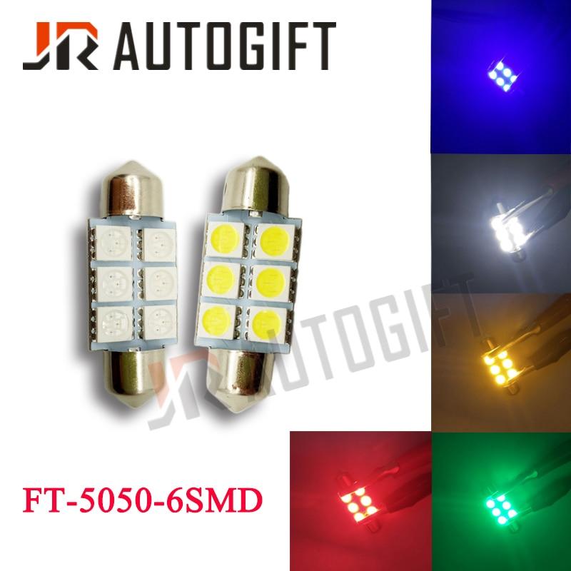 2X Green 6-SMD 5050 Car LED Dome Map Light Bulb 42MM Festoon Interior Lamps 12V