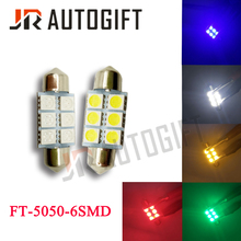 10 шт. гирлянда 5050 6SMD 31/36/39 мм/41 мм автомобиля светодиодный светильник 24V12V белый/синий/зеленый/красный/желтый FT C5W автомобильный Стайлинг межкомнатных дверей светильник