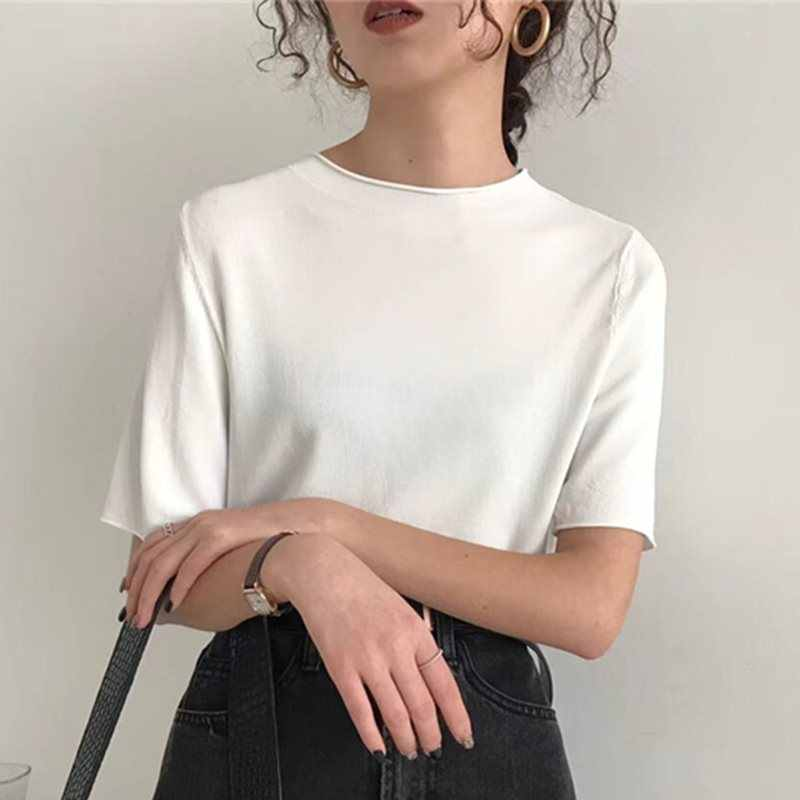 Летняя винтажная элегантная Офисная женская футболка, женские топы больших размеров, Свободные корейские простые черные 2019 Ретро женские модные футболки