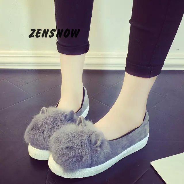 2017 Autumn New Women's Shoes, Rabbit Ears, Fluffy Shoes, Women's Shoes Leisure