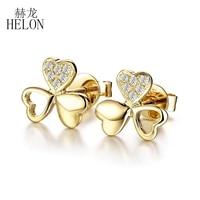 HELON Sale Solid 18K Yellow Gold Delacate Clover Fine Christmas Gift Natural Diamond Earrings Women's Fine Jewelry Earrings