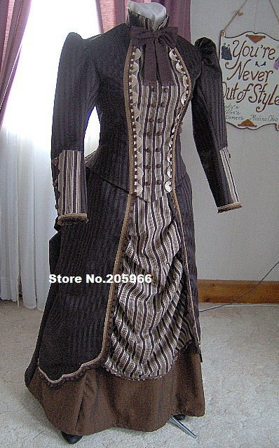 Vintage Costume 1800s Victorian Dres 1880s Bustle Gown AmpBodice Reenactor Sass Old West Gothic