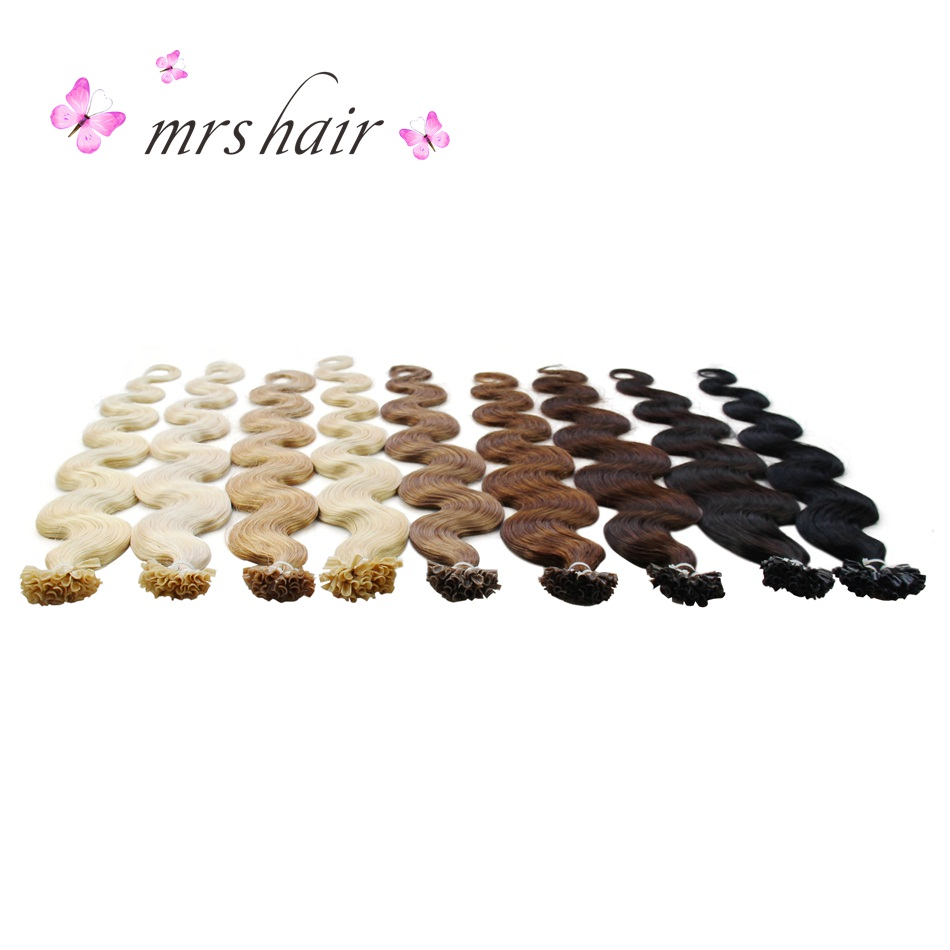 MRS HAIR Body Wave U Tip Hair Extensions 20 Keratin Hair On Capsule Machine Made Remy Fusion Nail Hair Blonde 1g Strand 50pcs