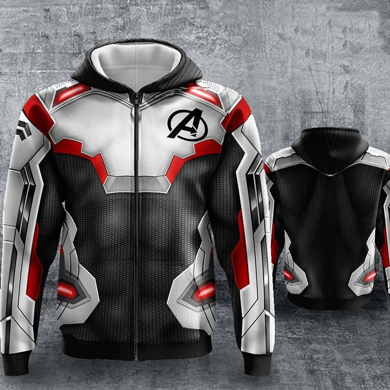 3 DPrinted Marvel Avengers 4 Endgame Quantum Realm Cosplay Costume Hoodies Men Zip Up Hooded Sweatshirt Hoodie Costumes Jacket