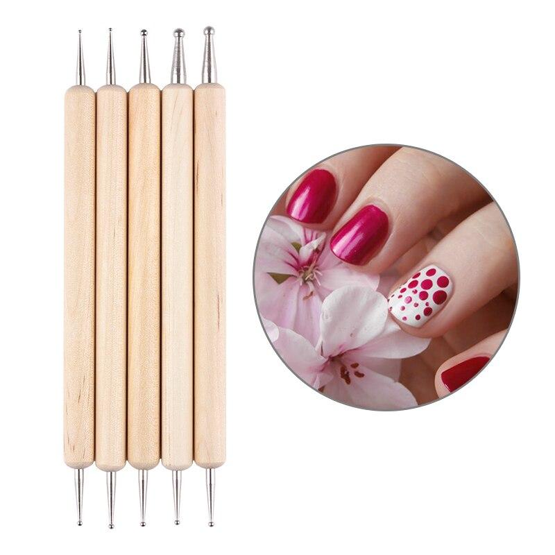 5Pcs 2 Way Wooden Dotting Pen Marbleizing Tool Nail Art Dot