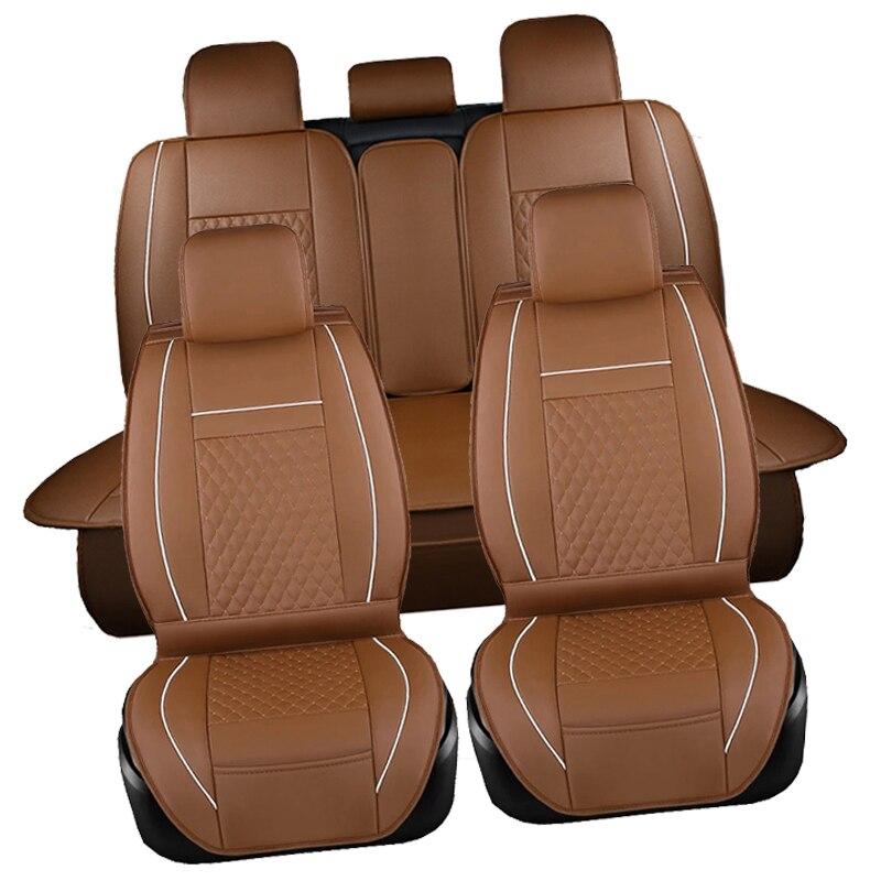 Cubierta de asiento de Pu A prueba de agua negro Juego completo cubierta de asiento de cuero impermeable para coche Protector de cojines de Auto para Fiat viagg ottimo - 5