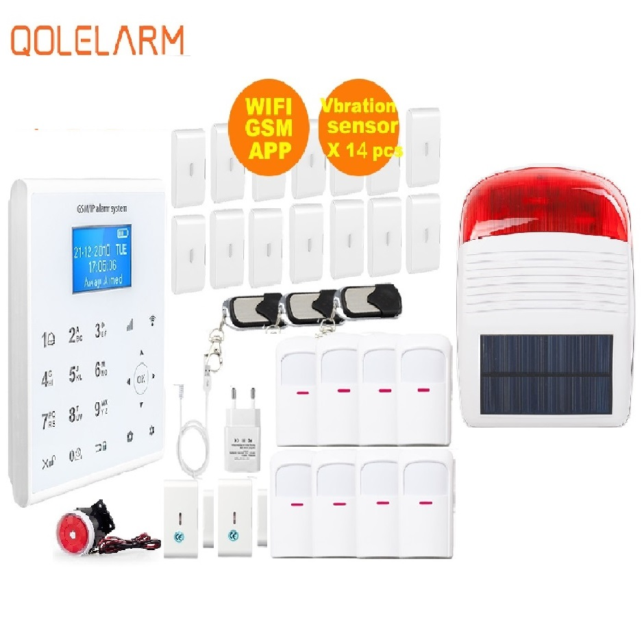 Free Aliexpress Shipping 433MHZ Wireless WIFI Home Security Alarm System IOS/Android APP with solar siren and vibration sensor-in Alarm System Kits from Security & Protection    1