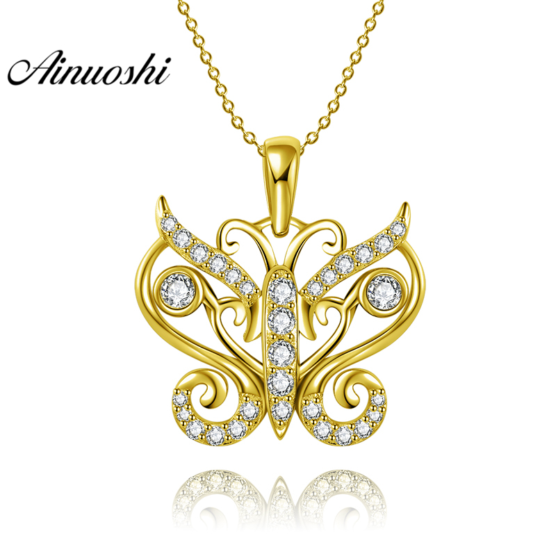 AINUOSHI 10K Solid Yellow Gold Pendant Delicate Butterfly Pendant SONA Simulated Diamond Women Men Jewelry 2.1g Separate Pendant delicate rhinestone filigree butterfly solid color ear cuff for women