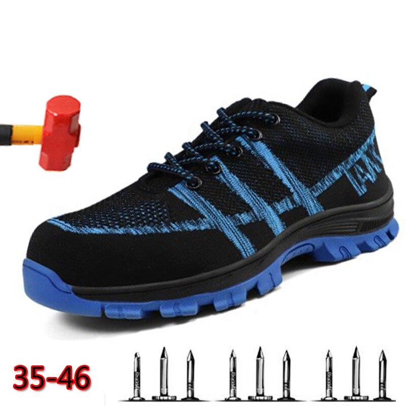 Botas De Trabalho De Prestações Pecuniárias 36-46 Respirável Unissex Sapatos De Trabalho Dos Homens Antiderrapante Sapatos De Proteção