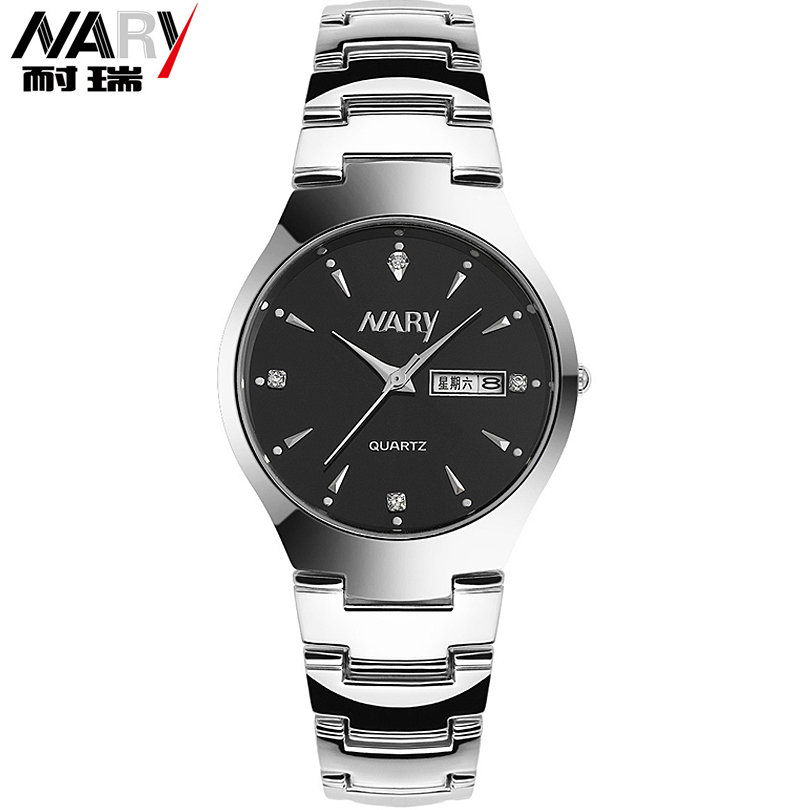 Fashion Dual Calendar Week&Date Display Watches Luxury Brand Business Men's Full Steel Quartz Watch Man Crystal Men Wristwatches halei lovers watches crystal inlaid full steel quartz watch women men simple casual wristwatches silver clock calendar relojes