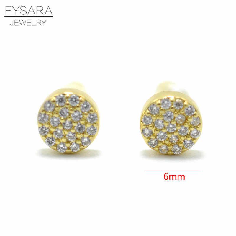 FYSARA Sinple Cute CZ Crystal Round Bead Bean Stud Earrings For Women Summer Jewelry AAA Cubic Zirconia Small Silver Earrings