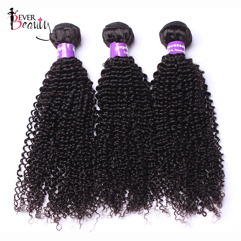Brazilian Hair Kinky Curly Human Hair Weave Bundles Natural Black 3Pcs/Lot Remy Ever Beauty Hair Extensions