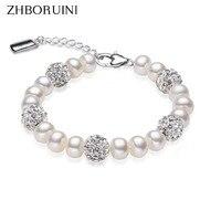 2015 Charm Bracelet Pearl Jewelry Crystaline Bracelet Natural Freshwater Pearl 925 Sterling Silver Bracelet For Women