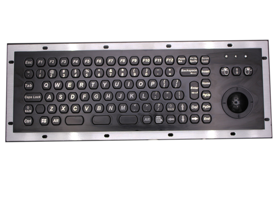 Rugged Industrial Panel Mounted Keyboard With Trackball Black terminal keyboards