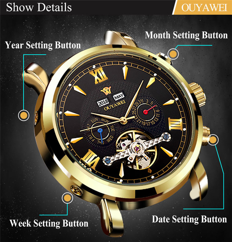Mechanical Watch Mens Top Men\`s Automatic Mechanical Watches Wristwatch Leather watch relogio masculino (4)