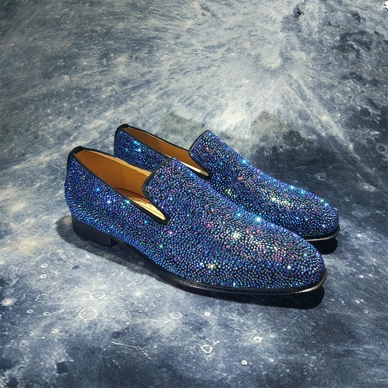 Marca de lujo para hombre mocasines de cristal de moda Slip On zapatos planos ocasionales zapatos de fiesta brillante zapatos de boda zapatos de negocios zapatos de mujer - 3