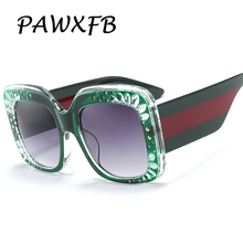 Pop Age 2018 New Italy Brand Designer Square Sunglasses Women Green Pink Sun Glasses Eyeglasses Female Oculos de sol Shades