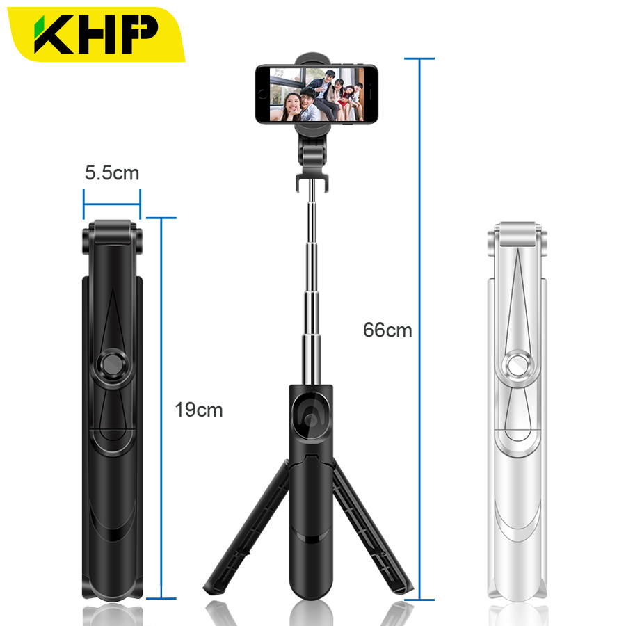 KHP Tripod Bluetooth Selfie Stick For Xiaomi Selfie Stick Bluetooth Android Universal Monopod Phone Universal Selfie Sticks 2018 khp mini selfie stick tripod wired silicone handle monopod universal selfie stick for iphone android xiaomi selfie sticks