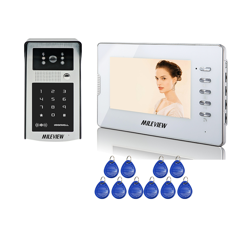 FREE SHIPPING New 7 LCD Color Screen Video Intercom Door Phone System White Monitor + Metal Waterproof RFID Code Keypad Camera jeruan home 7 video door phone intercom system kit rfid waterproof touch key password keypad camera remote control in stock