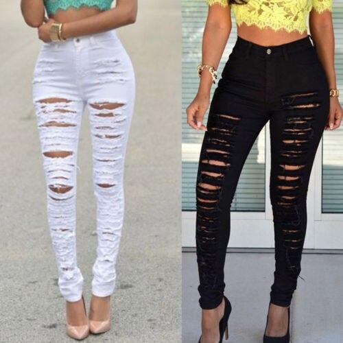 2736ec720c Moda Feminina Estiramento Desbotada Calça Jeans Destruído Rasgado Vintage  Black White Slim Fit Skinny Jeans Senhoras Calças Lápis Buraco em Calças de  brim ...